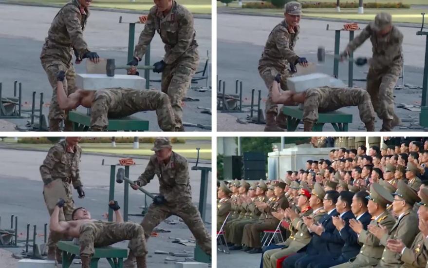 Севернокорейски войници показват сила като чупят тухли с глава и лягат голи върху натрошени стъкла